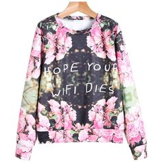 SheIn(sheinside) Black Long Sleeve Floral Letters Print Sweatshirt ($12) ❤ liked on Polyvore featuring tops, hoodies, sweatshirts, pink, pink sweatshirt, sweater pullover, black sweatshirt, long sleeve sweatshirt and long sleeve pullover