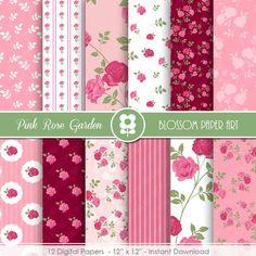 Rose Digital Paper Pink Rose Digital Paper Pack Floral Digital Scrapbooking Pack - INSTANT DOWNLOAD - 1983 #Pink #Wedding #PinkWedding #Paper