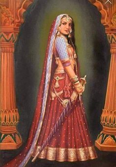 Rajasthani Painting, Rajasthani Art, Mughal Paintings, Indian Art Paintings, Oil Paintings, Tanjore Painting, Bollywood Stars, Female Portrait, Female Art
