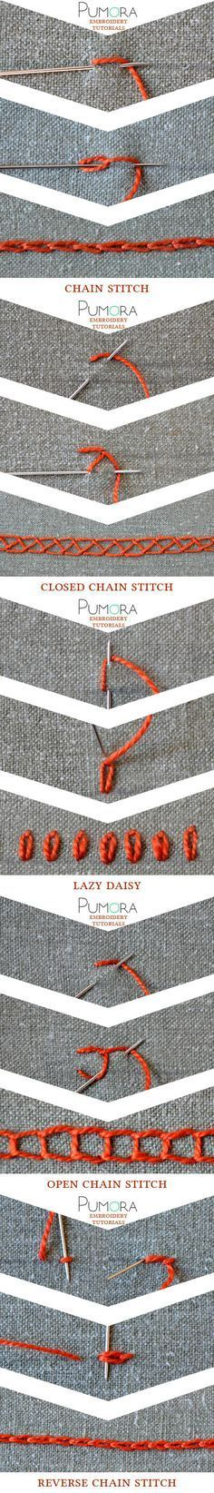 embroidery tutorials: chain stitch with variations broderie, ricamo, sticken, bordado                                                                                                                                                                                 Más