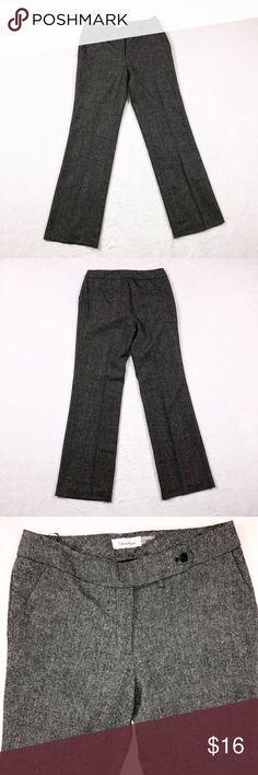 CALVIN KLEIN DRESS PANTS •Calvin Klein Women's Trousers• Classic Fit• Grey White Tweed• Size 4• Calvin Klein Pants Boot Cut & Flare