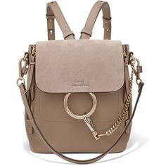 Chloé Faye small textured-leather and suede backpack ($1,660) ❤ liked on Polyvore featuring bags, backpacks, suede backpacks, chloe backpack, expandable backpack, expandable bag and day pack backpack