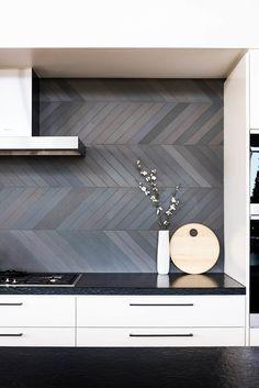 Splashback inspiration, grey long herringbone tiles - Found on Pinterest