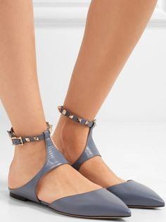 8bef5d251 Opt for Stylish Comfort with Valentino's 'The Rockstud' Leather Pointed-Toe  Flats