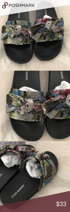 c90624a598 Steve Madden slides silky size 9 bow oriental Super cute pair of silky big  bow style