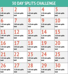30 Day Splits Challenge - 30 Day Fitness Challenges