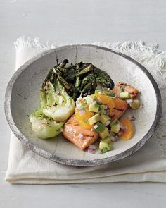 "Grilled Salmon and Bok Choy with Orange-Avocado Salsa - Whole Living Eat Well ""Detox Cred: Citrus and fresh herbs add clean, fresh flavor to foods, so you don't need to use much (if any) salt."""
