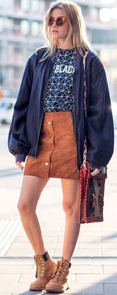 Blue And Brown Cool Combo Streetstyle Inspo by Elsa Ekman