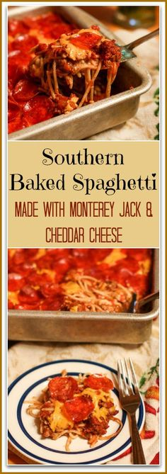 This will be the best Baked Spaghetti Recipe you will ever make. There is no Mozzarella like the traditional Italian versions. Instead, I add in layers of Monterey Jack Cheese, Cheddar Cheese, and Pepperoni. The trio combination along with my HOMEMADE meat sauce creates an incredibly wicked good, cheesy spaghetti dish.