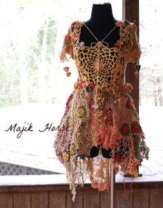 Vintage Lace Doily Dress Bohemian Gypsy Flower Fairy Spring Ballerina Festival Dress Wedding Prom Majik Horse Hand Made on Etsy, $593.62 CAD