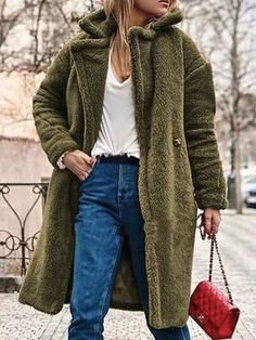 c5ce0af1ae New Army Green Pockets Buttons Turndown Collar Long Sleeve Teddy Coat