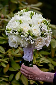 Wedding Bouquet Arranged With: White Roses, White Freesia + White Bouvardia