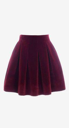 Wine Red Velvet Pleated Mini Skirt