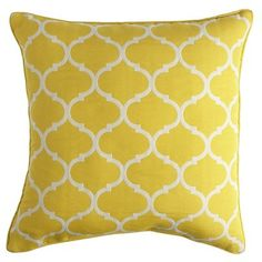Cabana Geometric Pillow - Lemon. What an amazing pop of color to a white room! Must. Have.