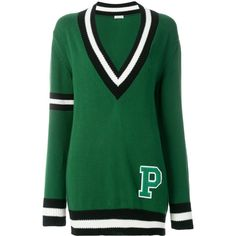 P.A.R.O.S.H. V-neck striped sweater (16.850 RUB) ❤ liked on Polyvore featuring tops, sweaters, green, v-neck sweater, green striped top, green striped sweater, cotton v neck sweater and green v neck top
