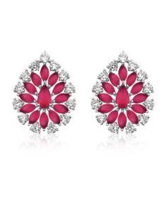 brinco gota rubi com zirconias cristais e banho de rodio semi joias da moda