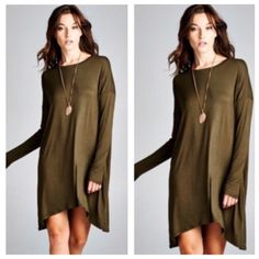 ONLY $15  Olive Long Sleeve Staple Tunic Dress LAST SMALL❗️❗️long sleeve solid tunic top. Looks fantastic with one of the faux fur vests for sale in my closet! No trades! Dresses Asymmetrical