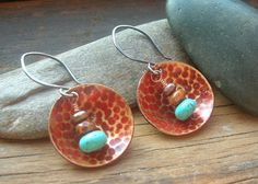 Red Patina Textured Brass Domed Disc Sterling Silver by kmaylward