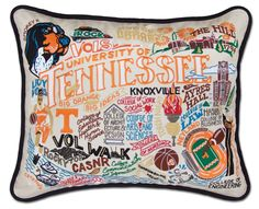 "Go Vols! Celebrate the University of Tennessee with this incredibly detailed and colorfully embroidered pillow. These pillows are 16"" x 20"", include deluxe poly form, and are made with 100% organic co"