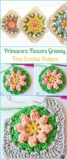 Crochet Primavera Flowers Granny Square Free Pattern - Crochet Granny Square Free Patterns