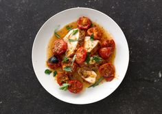 Roasting supermarket cherry tomatoes intensifies their flavor -- it just works wonders. Chicken with Herb-Roasted Tomatoes and Pan Sauce