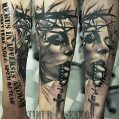Kick Ass Tattoo Artists: Timur Lysenko from Rock'n'Roll Tattoo and Piercing Katowice Rock N Roll Tattoo, Maria Tattoo, Jesus Tattoo, World Tattoo, Realism Tattoo, Tattoos Gallery, Great Tattoos, Black And Grey Tattoos, Woman Face