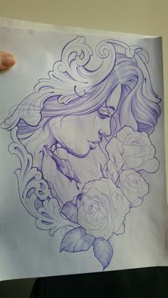 Mujer rosas ornamental