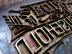 """Found this amazing ornate metal type at Quarry Bank Mill, where they used to use it to print onto fabric."" #darrenscott"