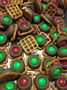Holiday Chocolate Pretzels.  Bake at 275 for 3 minutes and put m&m in the center.  Use for any holiday with different color m&m's.