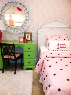 Pink and Green girls bedroom - painted cane mirror, painted desk, stencilled walls