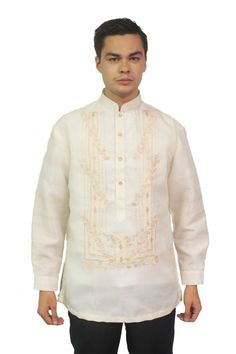 This barong is a great fit for any formal occasion. Fabric: Organza (shell) with pina effect and Polyester (lining). Modern Filipiniana Dress, Barong Tagalog, Different Types Of Fabric, Collar Designs, Chino Shorts, Mandarin Collar, Traditional Outfits, Shirt Dress, Long Sleeve