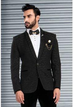 Tuxedo Suits-Black-Embossed-ST609