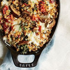 Mushroom & Bacon Casserole Recipe | Cooking Light #myplate #veggies #protein #dairy