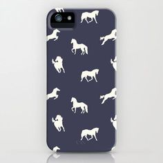 Horse Print (Navy Slate) iPhone & iPod Case by Jacqueline Maldonado - $35.00