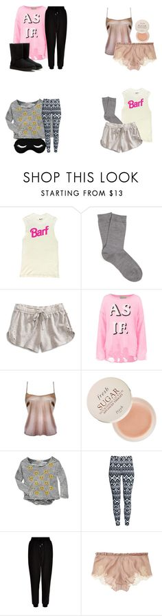 """Aria Montgomery sleepwear - pll / pretty little liars"" by shadyannon ❤ liked on Polyvore featuring Falke, Lucky Brand, Wildfox, Fresh, Vintage Havana, H&M, New Look, Carine Gilson and UGG Australia"