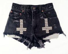 want.   Black Lunar short studded cut off shorts by Omeneye on Etsy. $89.00 USD, via Etsy.