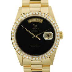 Gold Rolex President 18238 Black Onyx Dial Watch