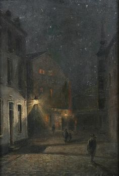 JAKOB GEHRIG (Swiss, 1846-1922). STREET SCENE AT NIGHT, signed and dated 1909