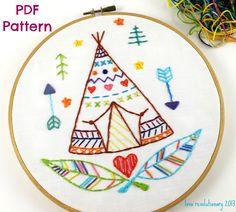 Teepee PDF Hand Embroidery Pattern