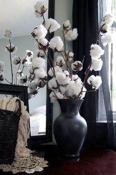 cotton stalks, vase, cotton, arrangement I might dye the cotton balls a different color to make them POP