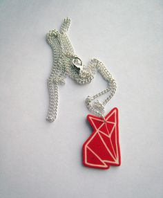 Red Fox Origami Pendant Necklace by zyzanna on Etsy, £14.00 I could make this!