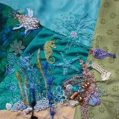 I ❤ crazy quilting & embroidery . . . My work on Under the Sea DYB NickiLee ~By Ritva Peltola