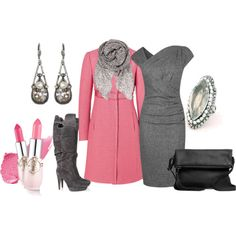"""pink coat"" by anfernee-131 on Polyvore"