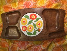 Vtg Cheese Tray Wood Tile Mid Century Modern Flower Hippie Retro Cutting Board