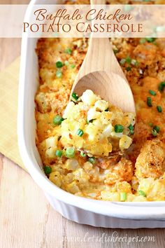 Buffalo Chicken Potato Casserole: cheesy diced potatoes combine with hot and spicy chicken in this heartwarming casserole.