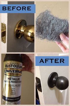 DIY: We have outdated hardware all throughout our home since our house was built in the mid We are on a budget, so a handy friend of mine told me to spray paint everything. The guy at Home Depot recommended this spray paint, and to use steel wool on Do It Yourself Design, Do It Yourself Baby, Home Improvement Projects, Home Projects, Home Improvements, Home Renovation, Home Remodeling, Bathroom Renovations, Budget Bathroom