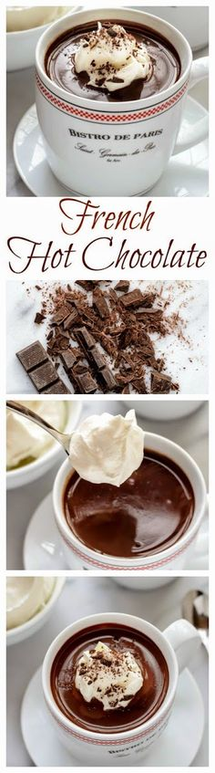 An easy recipe for dark hot chocolate that tastes just the kind served in Paris cafes! An easy recipe for dark hot chocolate that tastes just the kind served in Paris cafes! Just Desserts, Delicious Desserts, Dessert Recipes, Yummy Food, Tasty, Drink Recipes, French Desserts, Recipes Dinner, French Sweets