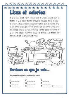 Classroom Behavior, Special Education Classroom, Kids Education, French Language Lessons, French Lessons, French Worksheets, Picture Composition, Core French, Writing Notebook