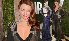 A rare fashion mis-step! Miranda Kerr fails to flatter her figure in billowing long sleeve gown... as Lily Collins gets vintage-style right in stunning sapphire dailymail.co.uk