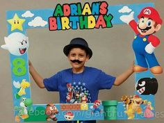 Super Mario Frame / Photo Props / Photo Booth by GiantFunFrames Super Mario Party, Super Mario Birthday, Mario Birthday Party, 6th Birthday Parties, Super Mario Bros, Birthday Ideas, Mario Und Luigi, Mario Bros., Mario Kart